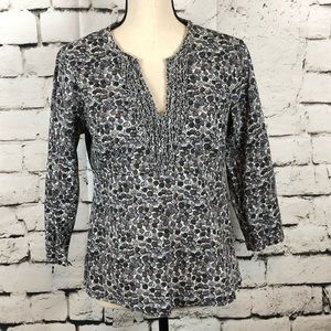 Boden Gray Pattern Ruffle Front Peasant Top Sz 8